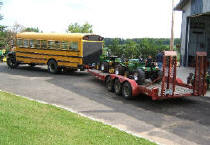 The garden tractor pullers loaded and ready to go to a garden tractor pull