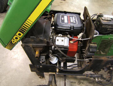 This John Deere 400 had a 20 HP Kohler engine and we repowered it with